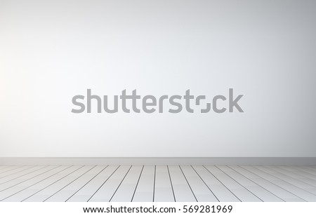 Empty Room With White Wall And White Wooden Floor Interior. 3D Rendering