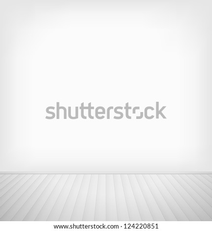 Empty room with white wall and white wooden floor interior. Raster version - stock photo
