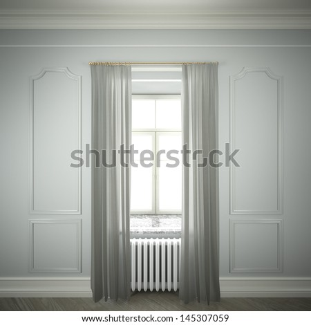 empty room with window and curtains - stock photo