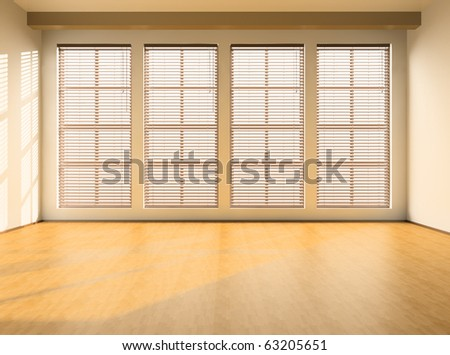 Empty room with windows and a parquet floor - stock photo