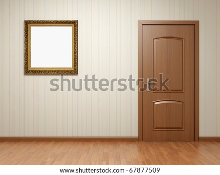 Empty room with wooden door and frame on striped wallpaper - stock photo