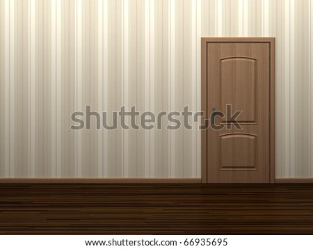 Empty room with wooden door and striped wallpaper