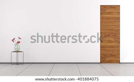 Empty room with wooden door and table with flowers - 3d rendering - stock photo