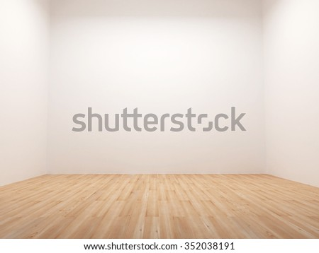 Empty room with wooden floor - stock photo