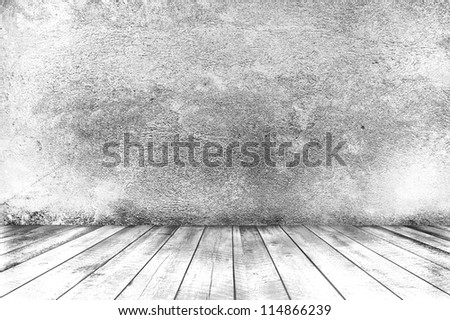 Empty room with wooden floor and concrete wall, interior background