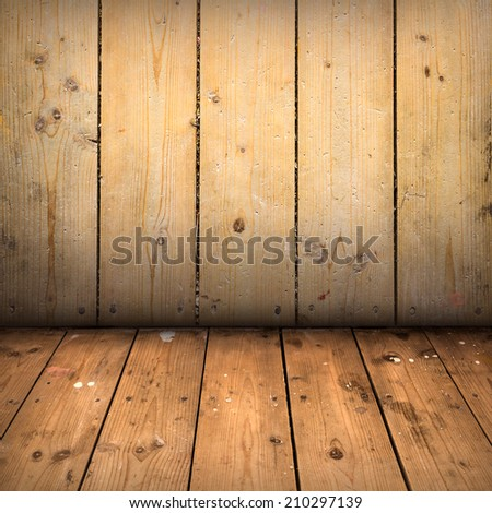 Empty room with wooden wall and floor - stock photo