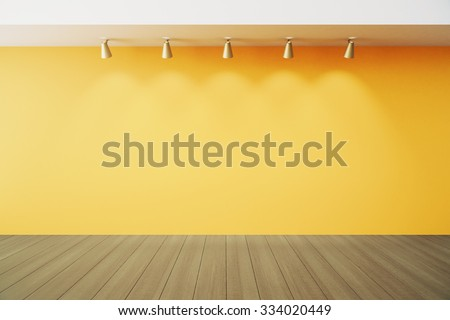 Empty room with yellow wall with lapms and wood floor 3D Render - stock photo