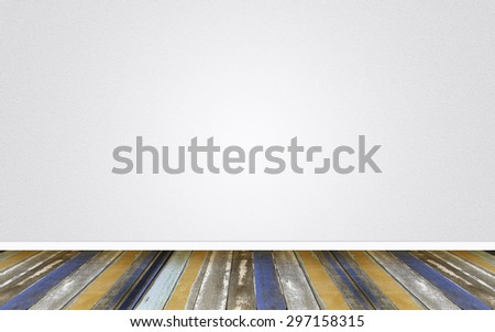 empty room, wood floor on Empty wall cement Background