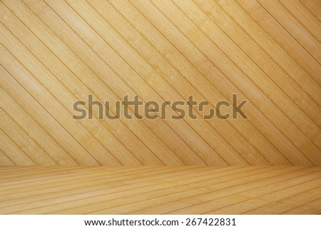 empty room wood with wall and wooden floor - stock photo