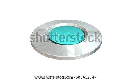 empty round button green - isolated in white