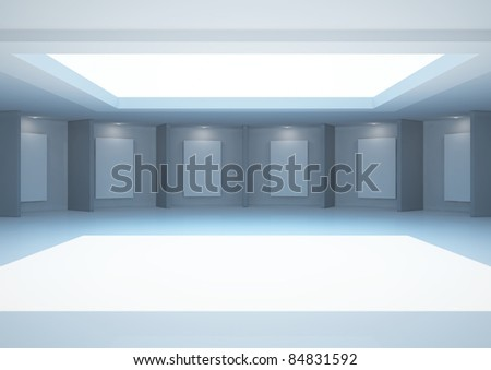 empty round gallery with blank frames and skylight - 3d illustration - stock photo