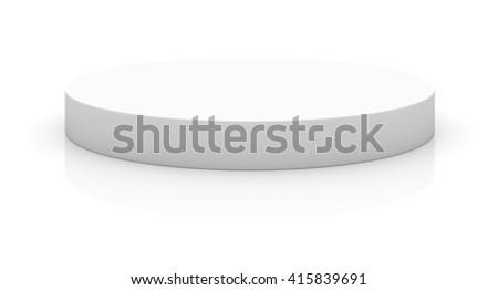 Empty round pedestal for display. Platform for design. 3D rendering - stock photo