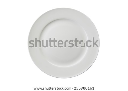 Empty round plate top view clean background