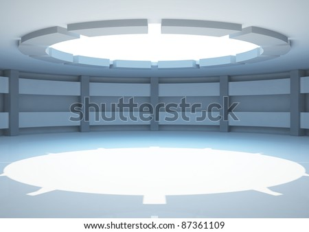 empty round room with columns and balks, interior showroom - 3d illustration - stock photo