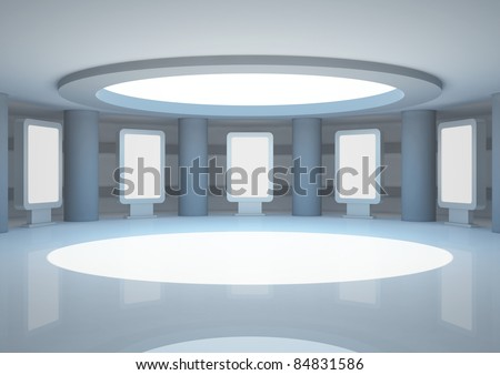empty round room with columns and light boxes, interior showroom - 3d illustration - stock photo