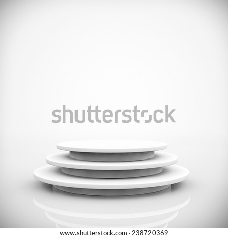 Empty Round Stage on a white background - stock photo
