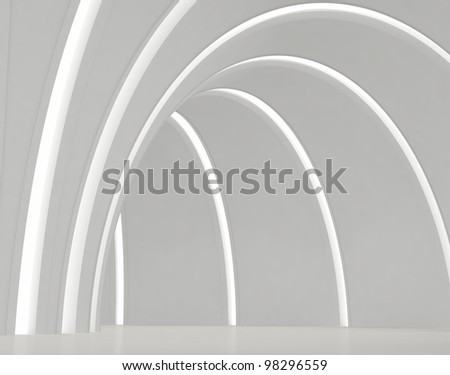 Empty round white hall with light strips - stock photo