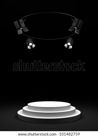 Empty round white stage in the dark room, shined with searchlights. - stock photo