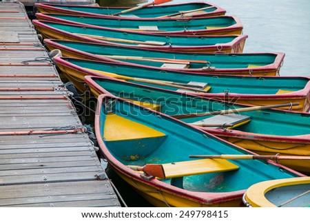 Empty Rowing Boats - stock photo