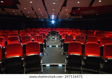 Empty rows of red seats at the cinema - stock photo