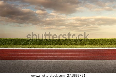 Empty running track for the background with copy space - stock photo