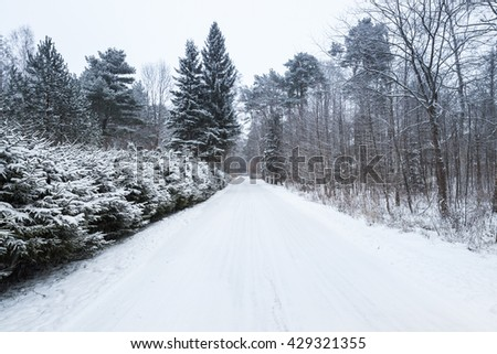 Empty rural road covered with snow in cold winter season - stock photo