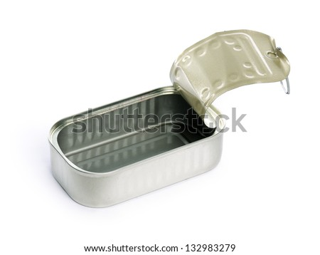 empty sardine can - stock photo