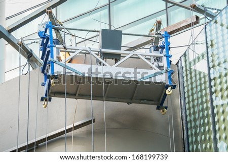 Empty scaffold for repairing a building wall