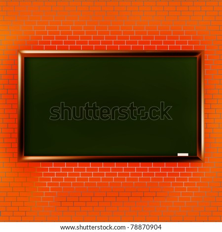 Empty school blackboard at brick wall having free space for your text