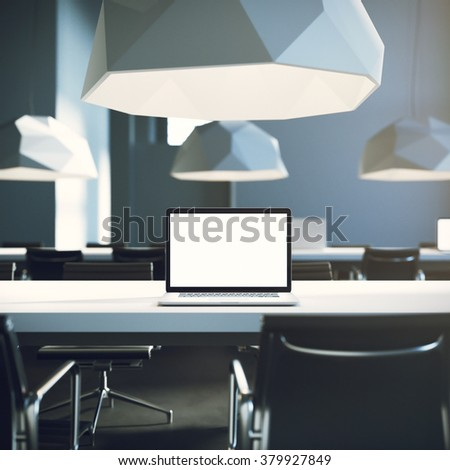 Empty screen laptop on the desk, in loft interior. Hipster mockup. 3d render