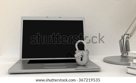 Empty screen with padlock on white notebook, laptop. Internet, web safety, privacy and security concept. - stock photo