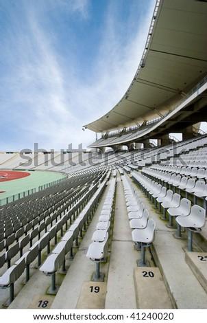 Empty Seats at the Big Stadium - stock photo