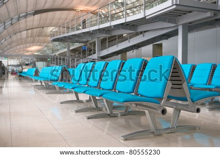 Empty seats in airport lounge of  Suvarnabhumi, Bangkok, Thailand - stock photo