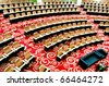 empty seats in conference center top view - stock photo