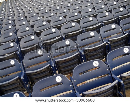 Empty seats in Washington Nationals baseball stadium. - stock photo