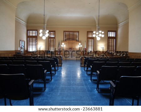 Empty seats inside a classic American courtroom. - stock photo