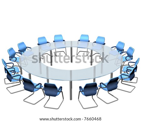 Empty seats round a boardroom conference table - stock photo