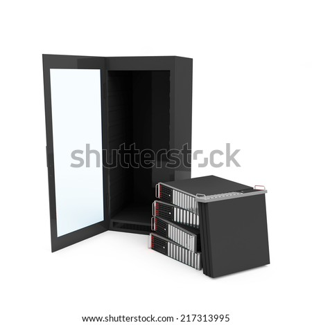 Empty Server Rack with Server Computers isolated on white background - stock photo