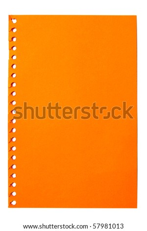 empty sheet of orange paper from a notebook - stock photo