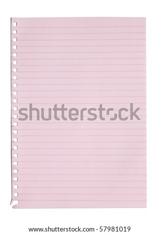 empty sheet of pink paper from a notebook in isolated