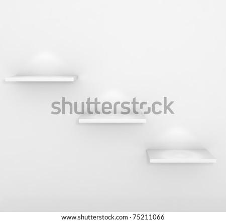 Empty Shelf - 3d illustration - stock photo