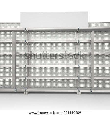 empty shelf from front view with blank banners - stock photo