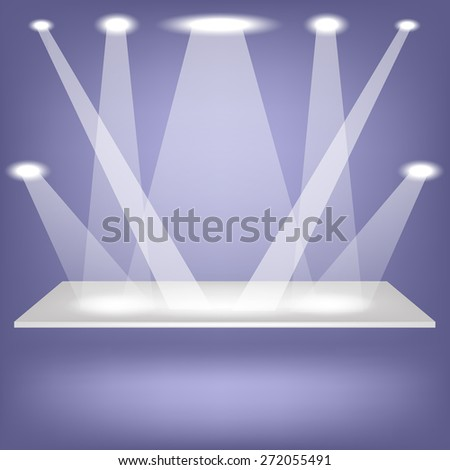Empty Shelf Isolated on Blue Background. Spotlights Illuminated the Empty Shelf. - stock photo