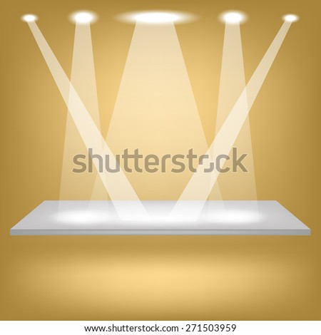 Empty Shelf Isolated on Brown Background. Spotlights Illuminated the Empty Shelf. - stock photo
