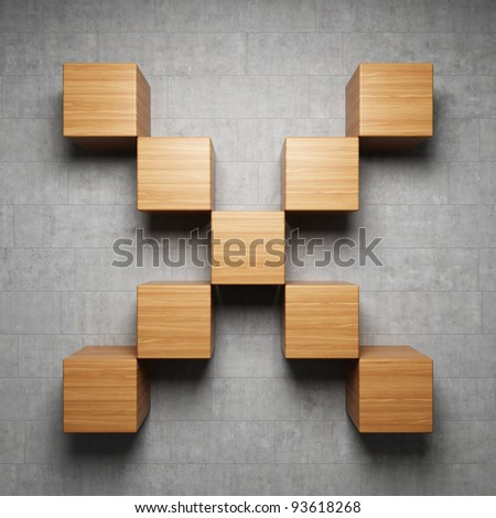Empty shelf on the grungy concrete wall - stock photo