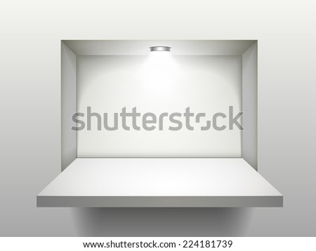 empty shelf with illumination isolated over the wall - stock photo