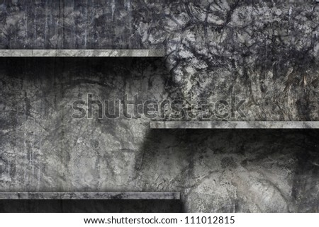 Empty shelf with old cement wall background, grunge interior Uneven diffuse lighting version. Design component - stock photo