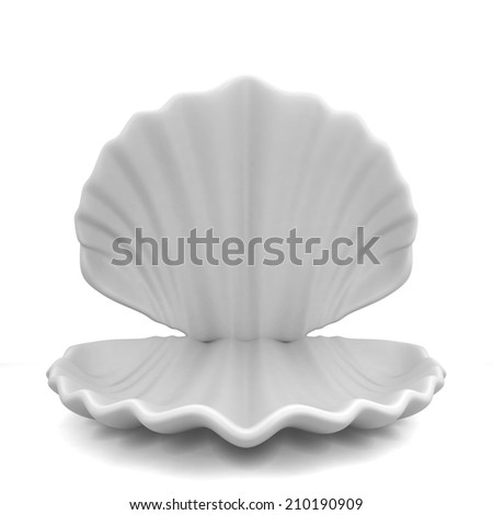 Empty shell. 3d illustration isolated on white background  - stock photo