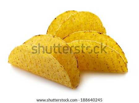 empty shells of Mexican food Tacos - stock photo