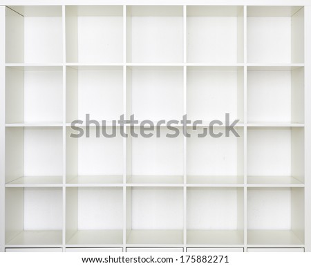 Empty shelves, blank Bookcase library - stock photo